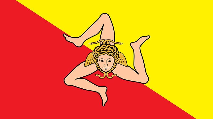 flag - trinacria symbol of sicily - trinacria symbol